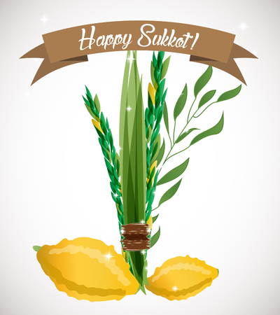Vector illustration of four species - palm, willow, myrtle , lemon - symbols of Jewish holiday Sukkot Feast of Tabernacles. Holiday of Sukkot illustration. Illustration