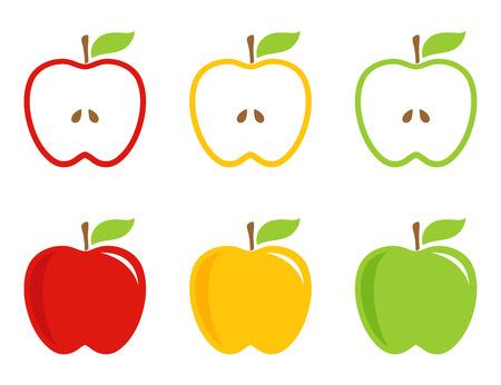 manzana: Amarillas, verdes y rojas manzanas estilizadas. Manzanas conjunto y medio en colores brillantes. Vector, icono, señal.