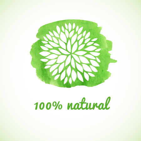 natural beauty: 100 natural. Vector banner. Logotype design with flower on watercolor green background. Hand drawn design elements. For beauty salon, health clinic, yoga and massage senter.