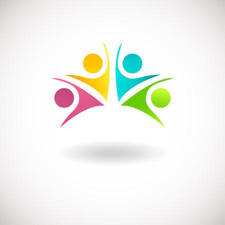 Abstracte mensen logo, teken, pictogram. Blauw, roze, groene en gele mensen symbolen. Vector concept voor sociaal netwerk, teamwerk, zakelijke onderneming, partnership, vrienden, familie en andere