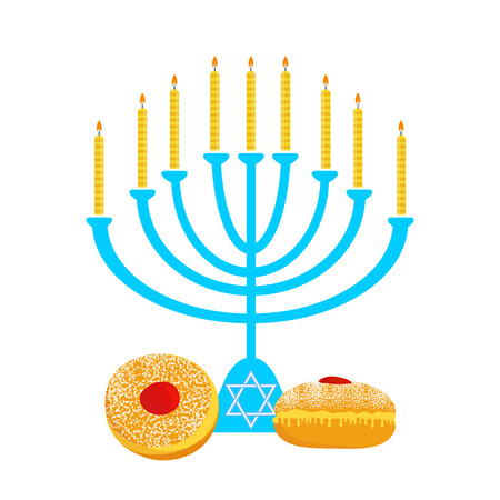 hanukka: Vector illustration of hanukkah, jewish holiday. Hanukkah menora with  candles and traditional donuts -  Sufganiyah