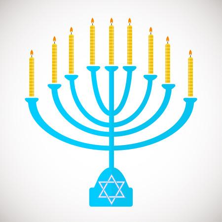 Vector illustration of hanukkah, jewish holiday. Hanukkah menora with  candles