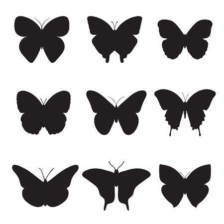 peacock butterfly: Vector collection of butterflies. Black butterflies on white background