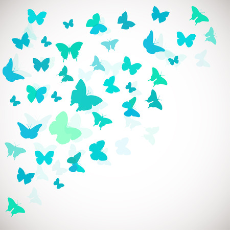 Abstract Butterfly Background. Vector illustration of blue butterflies. Coerner background for wedding, greeting, invitation card, poster, banner and other design