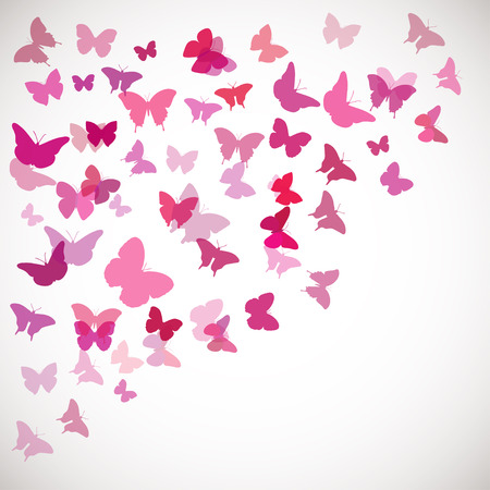 pink flower: Abstract Butterfly Background. Vector illustration of pink butterflies. Corner background