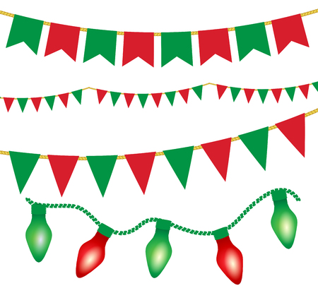 Christmas Lights Ans Flag Garlands Set. Red And Green Christmas Elements.  Vector Illustration For