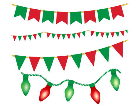 Christmas lights ans flag garlands set. Red and green christmas elements. Vector illustration for posters, banners, invitation, greeting cards, holiday menu design. Vettoriali