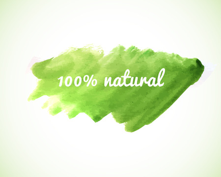 100% natural, vector phrase on green watercolor painted art banner. Eco, bio, nature, healthy food and go green design. Vettoriali
