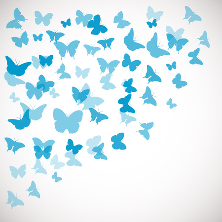 blue backgrounds: Abstract Butterfly Background. Vector illustration of blue butterflies. Corner background for wedding, greeting, invitation card, poster, banner and other design