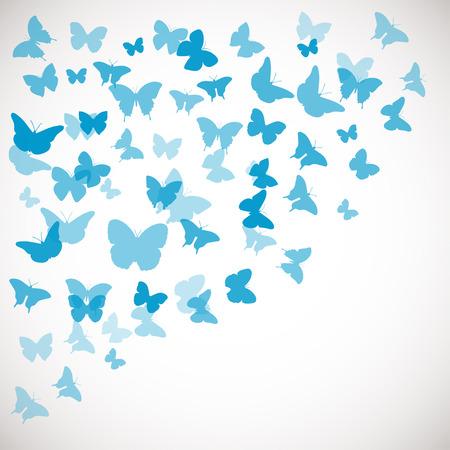 Abstracte Achtergrond van de Vlinder. Vector illustratie van blauwe vlinders. Hoek achtergrond voor huwelijk, groet, uitnodiging kaart, poster, banner en andere design