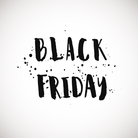 post scripts: Black friday grunge style ink painted phrase. Vector lettering on white background. Phrase banner for poster, stickers, banner, card and other design projects.