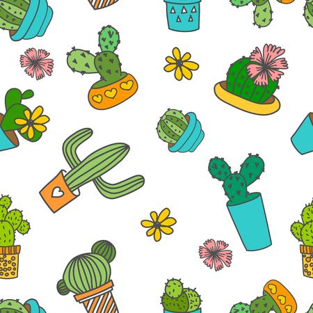 ベクターのシームレスなパターン。かわいい落書きサボテンと、鉢の花。