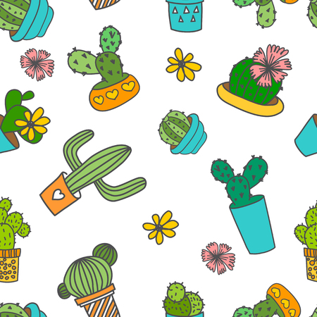cactus: Vector seamless pattern. Cute doodle cactus and flowers in a pots.