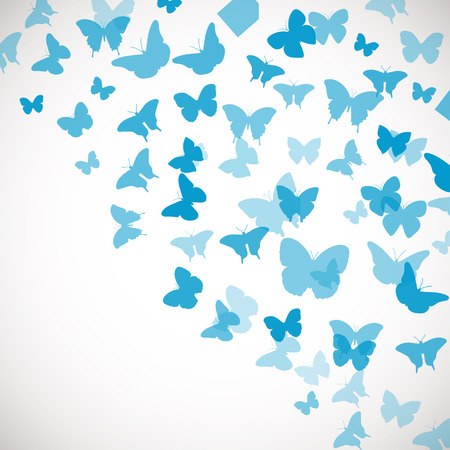 蝶と抽象的な青い背景。青い蝶のベクター イラストです。結婚式、挨拶、招待状、ポスター、バナー、その他のデザインのコーナーの背景