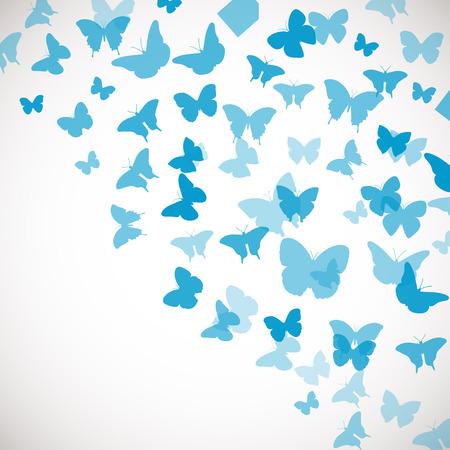 Abstracte blauwe achtergrond met vlinders. Vector illustratie van blauwe vlinders. Hoek achtergrond voor huwelijk, groet, uitnodiging kaart, poster, banner en andere design Stock Illustratie
