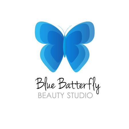 Papillon bleu studio de logo de beauté. Banque d'images - 48127016