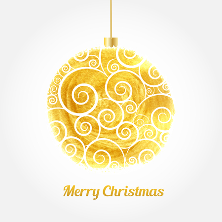 gold christmas background: Golden watercolor painted vector Christmas ball. Christmas card with gold ball and text Illustration