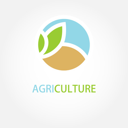 agriculture field: Vector sign Organic farming Greengrocer. Illustration