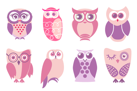 humor: Set of cartoon pink owls. Vector illustration of cartoon owls in baby pink colors