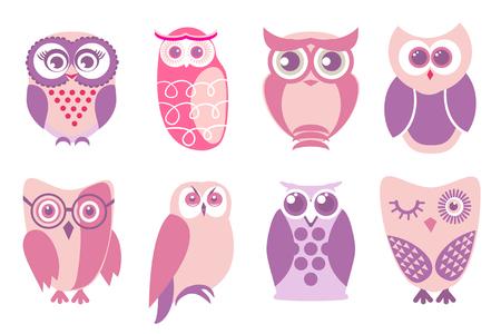 sowa: Zestaw cartoon różowe sowy. Vector ilustracją sowy kreskówek w baby różowych kolorach