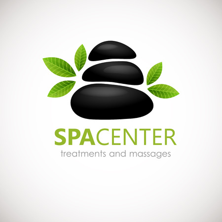 Black Spa Stones with white frangipani flowers logo design. Can be used for spa, yoga, massage center,wellness, beauty salon and medicine company. Фото со стока - 48699429