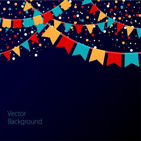 Ilustración del vector del cielo nocturno con las banderas coloridas guirnaldas. Vacaciones de fondo con el lugar de texto.