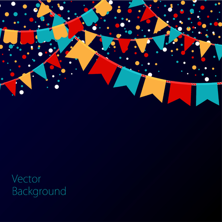 holiday party: Vector illustration of night sky with colorful flags garlands. Holiday background with place for text.
