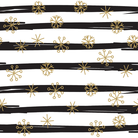 scrap gold: Stylish seamless snowflake pattern. Vector background with hand drawn gold snowflakes on black striped background. Retro style design for paper, scrapbooking, textile design