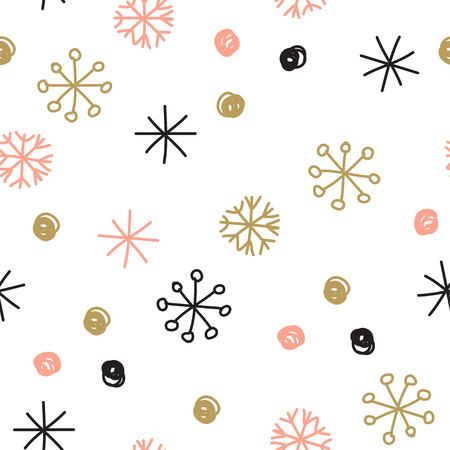 gold snowflakes: Stylish seamless snowflake pattern. Vector background with hand drawn snowflakes and spots in pastel colors
