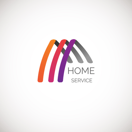 architect office: Vector house logo for your company. Good for home service, cleaning, insurance and other business