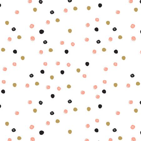 ヴィンテージ手描き落書き黒、ピンクとゴールドのドットでシームレスなパターンです。水玉のかわいい背景。紙、壁紙、テキスタイル、ファブリ