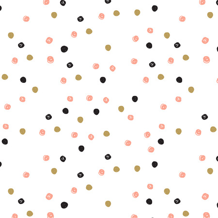 Vintage hand drawn doodle seamless pattern with black, pink and gold dots. Polka dot cute background. Design  for paper, wallpaper, textile, fabric, and other progects. Ilustração