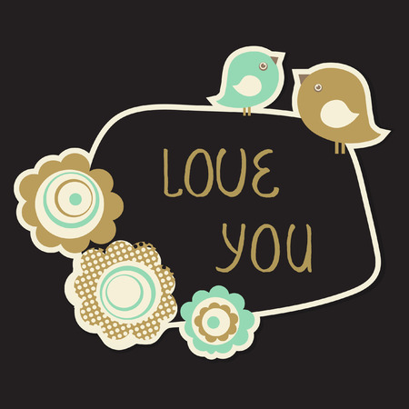 Cute Love You Card with birds couple and flowers. Vintage pastel colored vector illustration Illustration