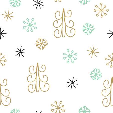 Snowflake and fir christmas tree. Christmas decoration pattern, seamless background, hand drawn elements. Vector illustration in black, gold, mint and white colors Illustration