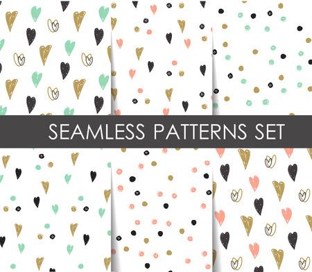 ブラック、ホワイトとゴールド ハートとドットのシームレス パターンを設定します。ベクトルの幾何学的なパターン。  紙、壁紙、テキスタイル、
