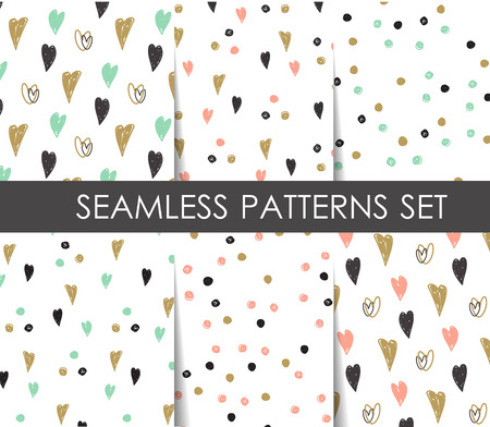 Black, white and gold hearts and dots seamless patterns set. Vector geometrical patterns.   Design  for paper, wallpaper, textile, fabric, and other progects.