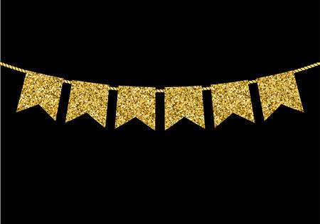flag banner: Gold flag  garlands made of gold glitter texture.