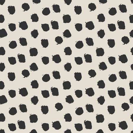 polka dot pattern: Seamless ink brush painted polka dot pattern. Vector illustration. Black and white grunge pattern. Can be used for tags, flyers, banners, web, print, textile and paper designs