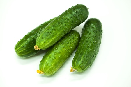 appetizing: Fresh appetizing tasty cucumbers on a white background