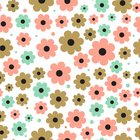 green wallpaper: Seamless background with cute flowers in pastel colors