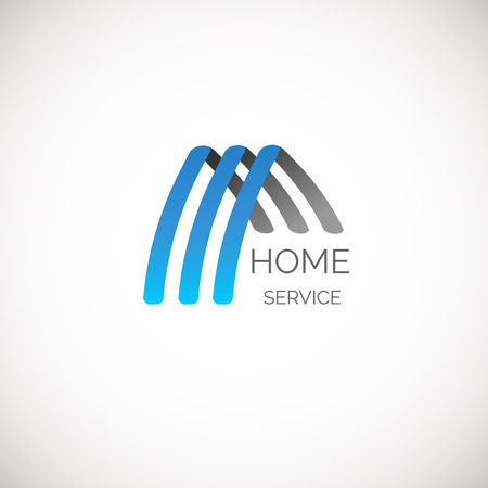 green construction: house logo for your company. Good for home service, cleaning, insurance and other business.