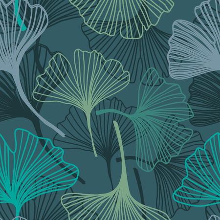 Ginkgo seamless pattern in soft colors