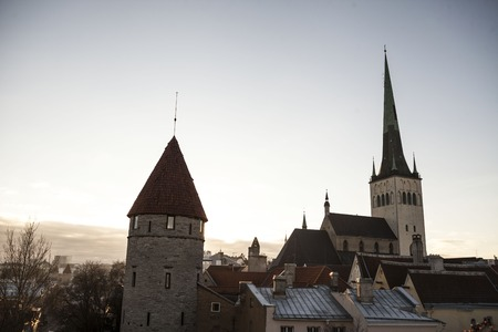tallin: View of old Tallinn city, Estonia with the old dome cathedrals
