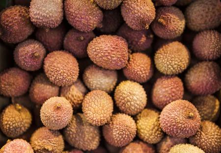 litchi: Ripe delicious fresh litchi fruits, close-up