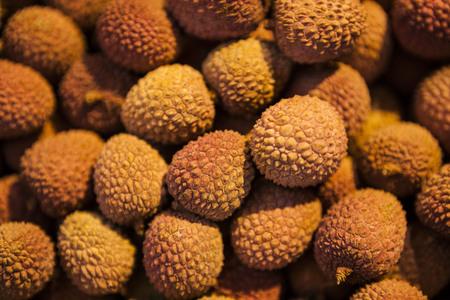 litschi: Ripe delicious fresh litchi fruits, close-up