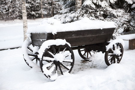 estonian: Old wooden cart in the courtyard peasant Estonian villages in winter in the snow