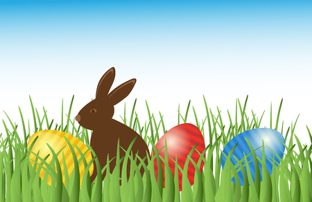 cute chocolate: Brown Cute Chocolate bunny with easter eggs in grass. Vector easter illustration. Happy easter banner Illustration