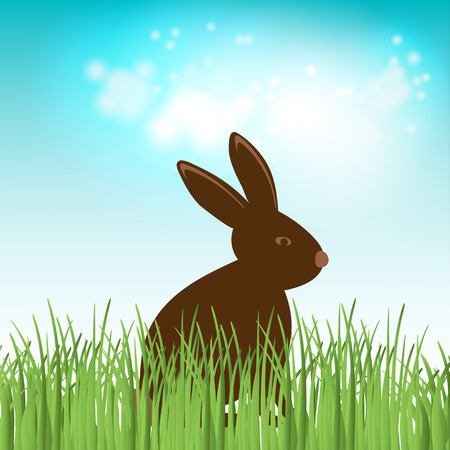 cute chocolate: Brown Cute Chocolate bunny in grass. Vector easter illustration. Happy easter banner