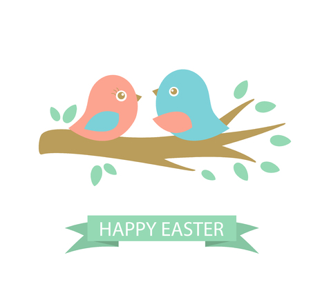 two birds: Cute easter card with two birds on the cherry tree branch