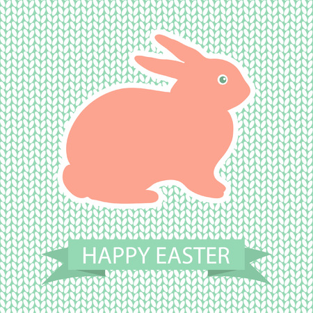 pink rabbit: Easter card with pink rabbit on wool knited background Illustration